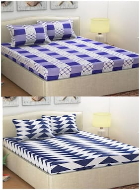 Italian Fab Poly Cotton 2 Double Bedsheet With 4 Pillow Covers