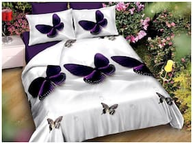 Italian Fab Microfiber 3D Printed Double Size Bedsheet 144 TC ( 1 Bedsheet With 2 Pillow Covers , Multi )