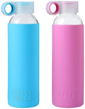 Izizi Glass Water Bottle Set of 1 ( Assorted , 500 ml )
