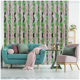 Jaamso Royals Wooden Strip with Green leave Peel and Stick Self Adhesive Wallpaper (100 * 45 CM)