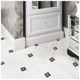Jaamso Royals 15pcs Black and white Ceramic Tile Stickers Waterproof Floor;Kitchen Wall Sticker (30 x 45 cm)