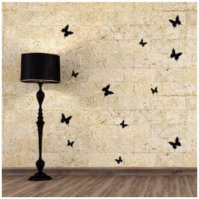 Jaamso Royals 'Black 3D Butterflies' Wall Sticker (13 cm X 15 cm)