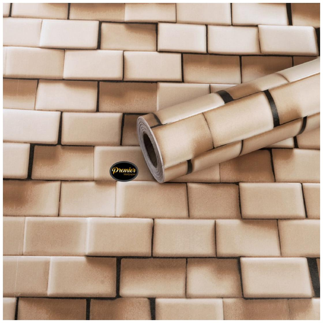 Jaamso Royals Brick Stone Peel and Stick Wallpaper;Wall Poster;Wall Sticker;PVC Self Adhesive for Bedrooms;Living Room;Hall;Play Room (100 * 45 CM)