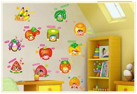 Jaamso Royals 'Fruits with Cartoons' Wall Sticker (30 cm X 45 cm)