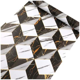 Jaamso Royals Black and White Marble Tiles Peel and Stick Self Adhesive Wallpaper (100 * 45 CM)