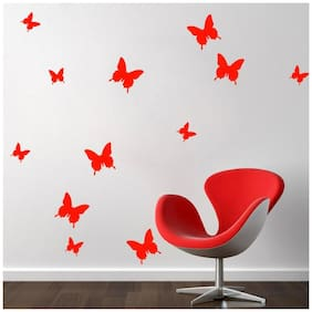 Jaamso Royals 'Red 3D Butterflies' Wall Sticker (13 cm X 15 cm)