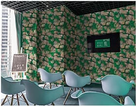 Jaamso Royals Brick Stone with Green grass - Stone Peel and Stick Wallpaper - Self Adhesive Wallpaper - Easily Removable Wallpaper - Use as Wall Paper, Contact Paper, or Shelf Paper