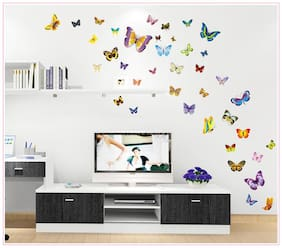 Jaamso Royals 'Multi Color Butterflies' Wall Sticker (30 cm X 60 cm)