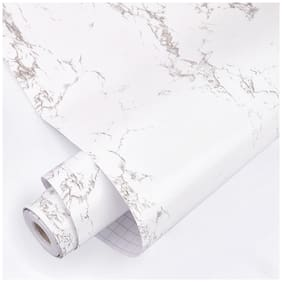 Jaamso Royals Marble Contact Paper Granite Waterproof  Vinyl Film Decorative Wallpaper for Countertop Furniture Wallpaper Shelf Paper Adhesive White Wallpaper (100 * 45 CM)