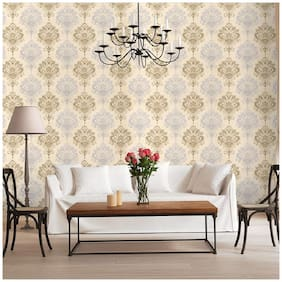 Jaamso Royals Damask Removable Wallpaper Peel and Stick Contact Paper Decorative Self Adhesive Shelf Drawer Liner Royals Design Wall Paper (100 * 45 CM)