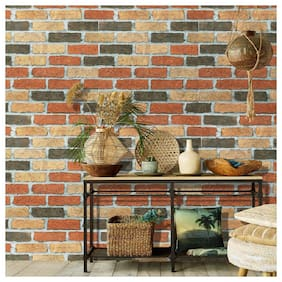 Jaamso Royals Brick Stone Peel and Stick Wallpaper;Wall Poster;Wall Sticker;PVC Self Adhesive for Bedrooms;Living Room;Hall;Play Room;Garden Home Decoration Stickers (100 x 45 cm)