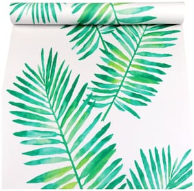 Jaamso Royals palm leaves vector Peel and Stick Self Adhesive Wallpaper (100 * 45 CM)