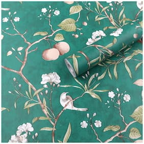 Jaamso Royals Vintage Flower Trees Birds Peel and Stick Self Adhesive Wallpaper (100 * 45 CM)