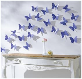 JAAMSO ROYALS DIY 3D Butterfly Wall Sticker Art Decal PVC Paper- 12pcs (Blue) Wall Sticker for Home D cor