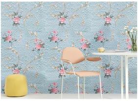JAAMSO ROYALS Cyan flower  wallpaper self-adhesive, peel & stick ( 45 CM x 200 CM ) Pack of 1