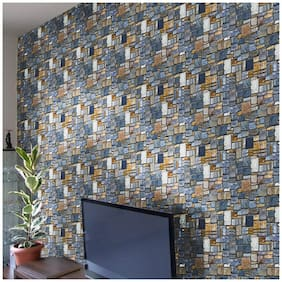 Jaamso Royals Stone Brick- Peel and Stick Wallpaper - Self Adhesive Wallpaper - Easily Removable Wallpaper - Use as Wall Paper, Contact Paper, or Shelf Paper
