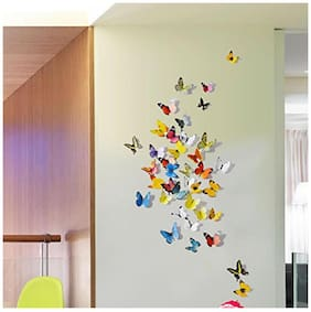 Jaamso Royals 'Multi Color 3D Butterflies' Wall Sticker (21 cm X 29.7 cm) H1-002
