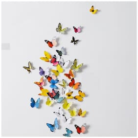 Jaamso Royals 'Multi Color 3D Butterflies' Wall Sticker (21 cm X 29.7 cm) H1-001
