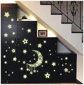Jaamso Royals 'Radium Moon & Falling Stars' Glow In Dark Wall Sticker (21 Cm X 29.7 Cm)