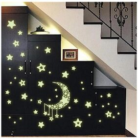Jaamso Royals 'Radium Moon & Falling Stars' Glow In Dark Wall Sticker (21 Cm X 29.7 Cm)