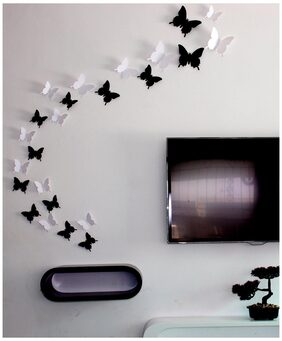 JAAMSO Royals Black and White 3D Butterfly Wall Sticker pack of 24 butterfly (White)