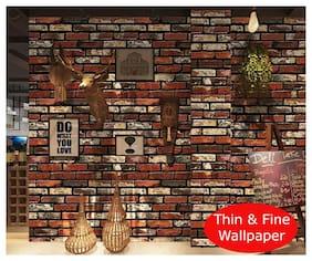 JAAMSO ROYALS 3D Red maroon brick  wallpaper self-adhesive, peel & stick ( 45 CM x 200 CM ) Pack of 1
