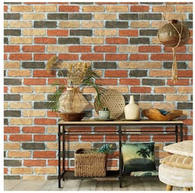 Jaamso Royals Brick Stone Peel and Stick  Wallpaper, Wall Poster, Wall Sticker, PVC Self Adhesive for Bedrooms, Living Room, Hall, Play Room, Garden Home Decoration Stickers