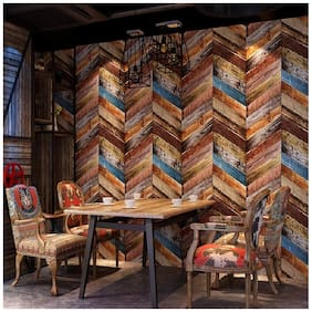 Jaamso Royals Wood Peel and Stick Wallpaper Vintage Wood Panel Wood Plank Wallpaper Contact Paper for Livingroom Bedroom Kitchen Bathroom (100 * 45 CM)