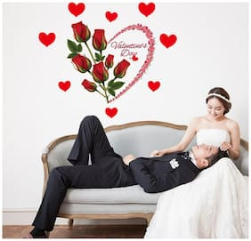 JAAMSO ROYALS Rose Flower Love Couple Marriage Wall Sticker Wall Sticker for Home D cor