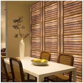 JAAMSO ROYALS 3D Brown wood wallpaper self-adhesive, peel & stick ( 45 CM x 200 CM ) Pack of 1
