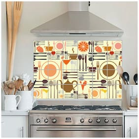 Jaamso Royals  Kitchen wall stickers self-adhesive resistant removable heat oil proof waterproof vegetable decal aluminum foil sticker,