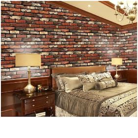 JAAMSO ROYALS Brick Peel and Stick Wallpaper - Self Adhesive Wallpaper - Easily Removable Wallpaper - Brick Peel and Stick Wallpaper   Use as Wall Paper, Contact Paper, or Shelf Paper (100 X 45 cm)