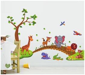 Jaamso Royals 'Kids Animals under Tree' Wall Sticker (60 cm X 90 cm)