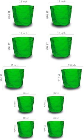 Jadayu Grow Bag 15 * 15 Hdpe 200Gsm Green Colour Set of 10 For Terrace Garden And Roof Gardens