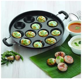 JAGGIS Non Stick APPAM PATRA APPAM WITH SIDE HANDLE 12 CAVITY