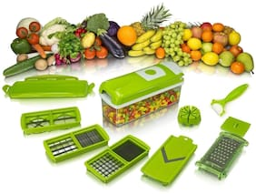JAGGIS  Vegetable Slicer, Cutter, Chopper, Grater - All in One (Green)