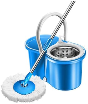 R J star 360 deg Rotating Steel Spinner Easy Floor Cleaning Pvc Bucket With 1Heads Microfiber Assorted Color PVC Bucket Mop Set