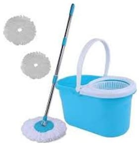 R J star Floor Cleaning Mop with Steel Rod with two extra refill - MultiColor