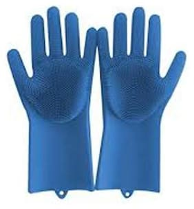 jain star Magic Silicone Dish Washing Gloves, Silicon Cleaning Gloves, Silicon Hand Gloves for Kitchen Dishwashing and Pet Grooming, Great for Washing Dish, Car, Bathroom (Assorted Color, 1 Pair)
