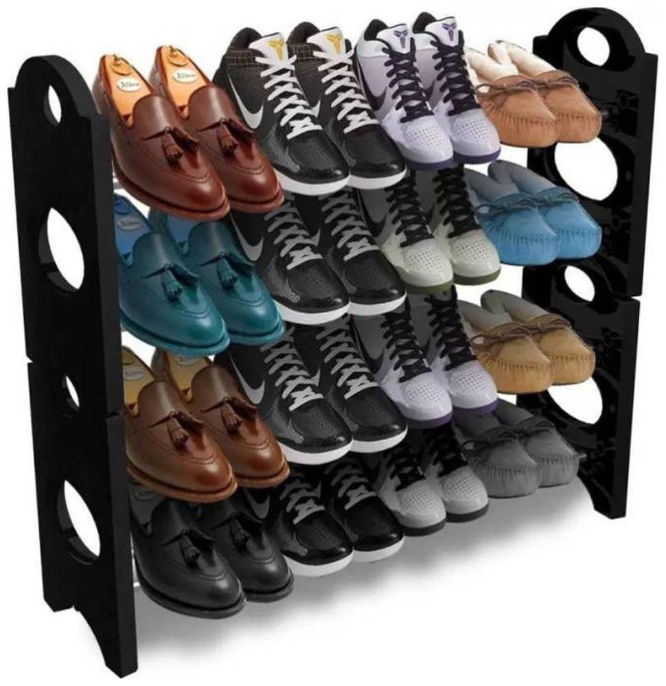 jain star Plastic Collapsible Shoe Stand  Black, 4 Shelves