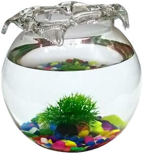 JAINSONS PET PRODUCTS Fish Glass Bowl with Baby Plant Multicolour Stone and Artificial Fishes Combo (8-inch)