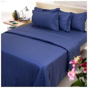 Jaipur Linen Cotton Striped Queen Size Bedsheet 300 TC ( 1 Bedsheet With 2 Pillow Covers , Blue )