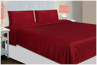Jaipur Linen Cotton Striped Queen Size Bedsheet 300 TC ( 1 Bedsheet With 2 Pillow Covers , Brown )