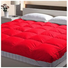 "Jaipur Linen Double Bed Finest Imported Super Microfiber Mattress Padding/Topper-Blood Red (72""X72"" Inch)"