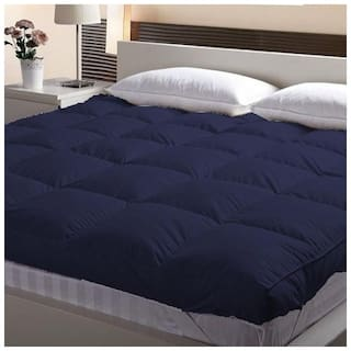 Jaipur Linen  Large Twin Size Bed Finest Imported super microfiber Soft Mattress Padding/Topper- Dark Blue-(48*78in)