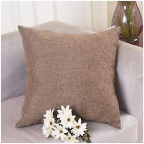 Jaipur Linen Abstract Jute Brown Cushion Cover ( Small , Pack of 4 )