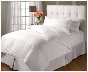 Jaipur Linen Single Bed Classic All Season Microfibre Duvet with Cotton Stripes Duvet Cover - 60 inch X90 inch, White