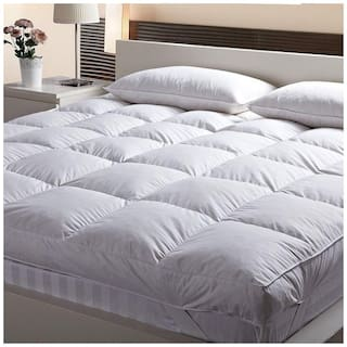 Jaipur Linen  Large Twin Size Bed Finest Imported super microfiber Soft Mattress Padding/Topper- White-(48*78in)