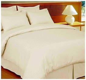 Jaipur Linen Cotton Striped Double Size Bedsheet 300 TC ( 1 Bedsheet With 2 Pillow Covers , Golden )