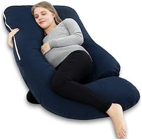 Jaipur Linen Pregnancy Pillow - Maternity Pillow for Pregnant Women - U Shaped with extra curve Pillow with 100% Cotton Pillow Cover-Dark Blue